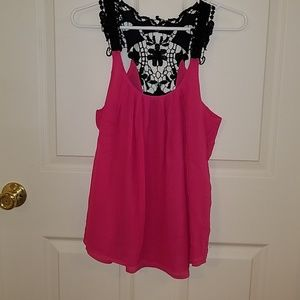 Tops - Black and pink tank top